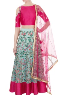 blue-net-hand-embroidered-lehenga-with-cold-shoulder-blouse-dupatta