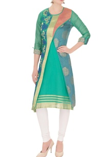 green-banarasi-chanderi-cross-over-jacket-with-inner-sleeveless-kurta