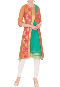 orange-cross-over-kurta-with-inner-green-sleeveless-kurta