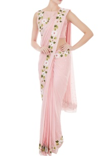 pink-georgette-chanderi-resham-embroidered-pre-stitched-sari-with-blouse