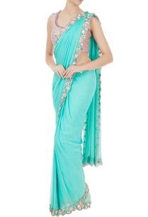 aqua-blue-georgette-sequin-pre-stitched-sari-with-blouse