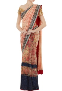blush-pink-net-mulsilk-printed-sari-with-red-brocade-unstitched-blouse