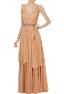 beige-shimmer-georgette-layered-gown-with-hand-embroidered-belt