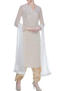 beige-double-georgette-georgette-resham-work-kurta-with-golden-salwar-pants