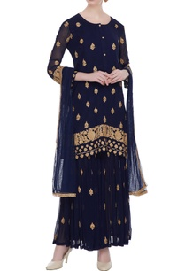 black-gold-embroidered-kurta-sharara-set