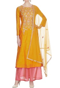 yellow-chanderi-embroidered-kurta-with-light-pink-palazzos-dupatta