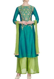aqua-blue-chanderi-embroidered-kurta-with-light-green-palazzos-dupatta