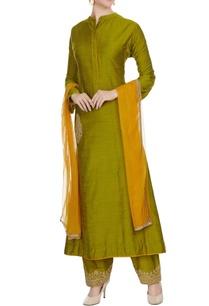 green-cotton-embroidered-pocket-kurta-with-palazzos-dupatta