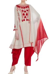 cream-red-tassel-anarkali-with-dhoti-pants-set