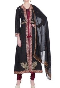 maroon-black-embroidered-cotton-jacket-set
