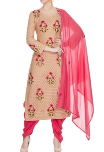 pink-beige-rose-motif-embroidered-kurta-set