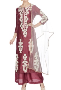 maroon-chanderi-embroidered-kurta-set