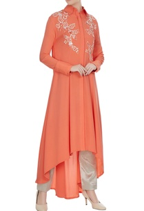 coral-double-georgette-sequin-embroidered-tunic