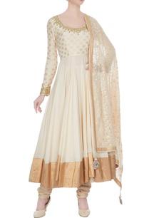 beige-white-cotton-printed-kalidar-kurta-with-churidar-dupatta