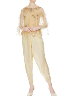 beige-cotton-printed-cape-with-tulip-pants