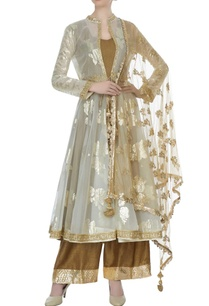 olive-green-beige-organza-net-raw-silk-kalidar-kurta-with-cape-pants-butti-work-dupatta