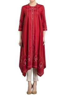 red-ivory-screen-printed-kurta-with-pants