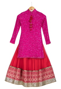 pink-sequin-embroidered-kurta-with-red-net-lehenga