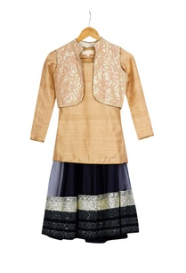 beige-black-shimmer-georgette-kurta-with-skirt-jacket