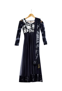 black-white-pre-embroidered-mirror-work-kurta-with-churidar