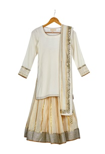 beige-gold-round-neck-kurta-with-gold-chanderi-lehenga-dupatta