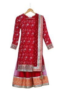 red-pre-embroidered-kurta-with-lehenga-net-dupatta
