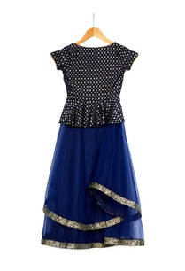 blue-brocade-peplum-blouse-with-double-layered-lehenga