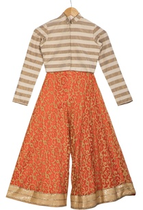 beige-stripe-chanderi-choli-blouse-with-pre-embroidered-orange-flared-pants