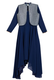 blue-asymmetric-georgette-kurta-with-churidar-bundi-jacket