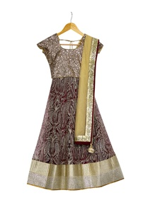 beige-wine-lehenga-with-sequence-borders-with-blouse-dupatta