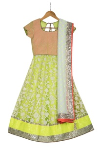 neon-yellow-pre-embroidered-net-lehenga-set