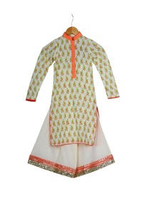 cream-orange-cotton-block-printed-kurta-with-box-pleated-pants