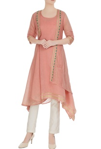 peach-embroidered-chanderi-jute-jacket-sleeveless-kurta