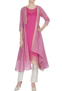 pink-jacket-style-chanderi-jute-kurta-with-jacket