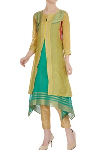 yellow-chanderi-jute-jacket-with-mid-waist-slit