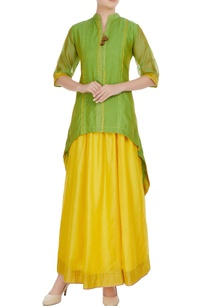green-high-low-kurta-with-yellow-maxi-skirt