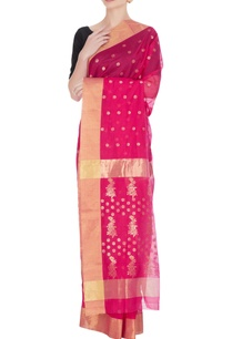 pink-woven-chanderi-silk-saree-with-unstitched-blouse