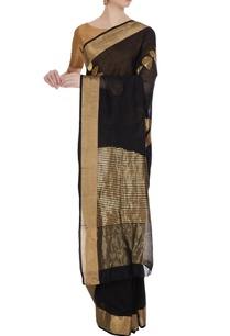 black-gold-handloom-chanderi-silk-saree-with-unstitched-blouse