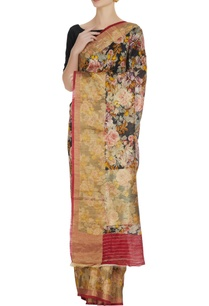 black-floral-digital-printed-handloom-matka-sari-with-unstitches-blouse