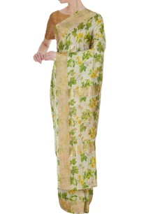 ivory-green-floral-digital-printed-sari-with-unstitched-blouse