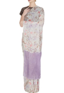 purple-floral-batik-hand-woven-linen-saree-with-unstitched-blouse