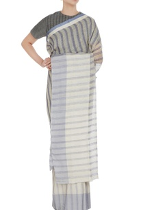 cornflower-blue-grey-striped-hand-woven-linen-saree-with-unstitched-blouse
