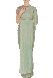 sea-green-cross-stitch-linen-hand-woven-saree-with-unstitched-blouse