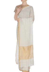 ivory-hand-woven-linen-sari-with-gold-check-pattern-with-unstitched-blouse