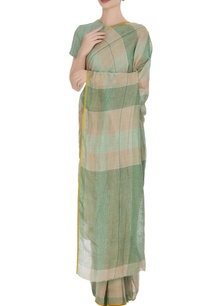 green-plaid-patterned-linen-hand-woven-saree-with-unstitched-blouse