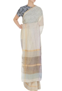 mauve-hand-woven-linen-summer-saree-with-unstitched-blouse