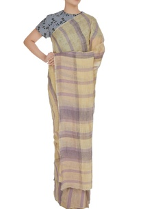 lavender-vanilla-plaid-patterned-hand-woven-linen-saree-with-unstitched-blouse