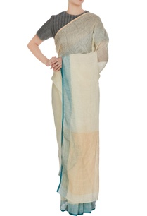 beige-linen-hand-woven-saree-with-blue-border-unstitched-blouse