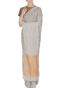 icy-blue-linen-hand-woven-check-saree-with-unstitched-blouse