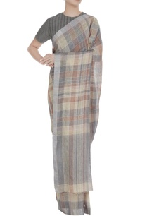 grey-stripe-check-patterned-linen-hand-woven-saree-with-unstitched-blouse